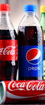POZNAN, POLAND - MAY 19, 2017: Global soft drink market is dominated by brands of few multinational companies founded in North America. Among them are Pepsico, Coca Cola and Dr. Pepper Snapple Group